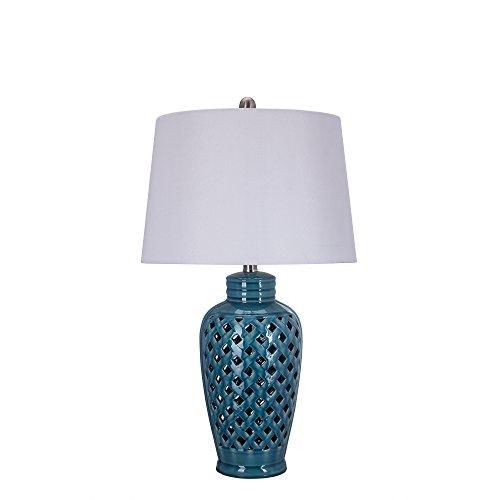 Fangio Lighting 8827 Fangio Lightings 26 Inch Blue Ceramic Table Lamp with Lattice Design by Fangio Lighting