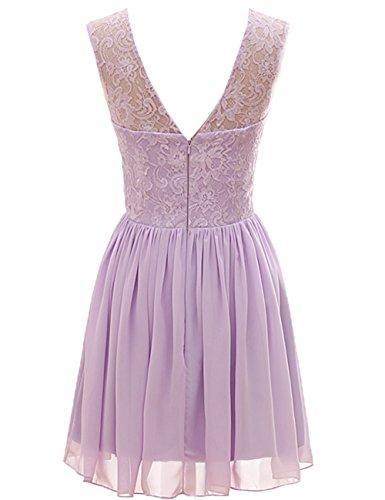 Bridal_Mall - Vestido - trapecio - Sin mangas - para mujer morado