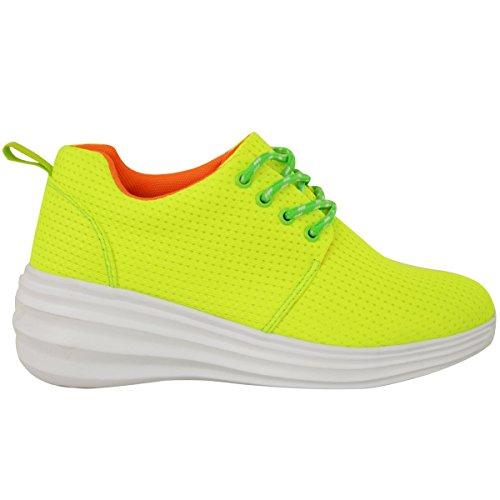 Zapatillas De Deporte Para Mujer Sedosas Lace Up Zapatillas De Deporte Deportivas Tallas Ocultas De Cuña Talla De Gimnasio Neon Yellow