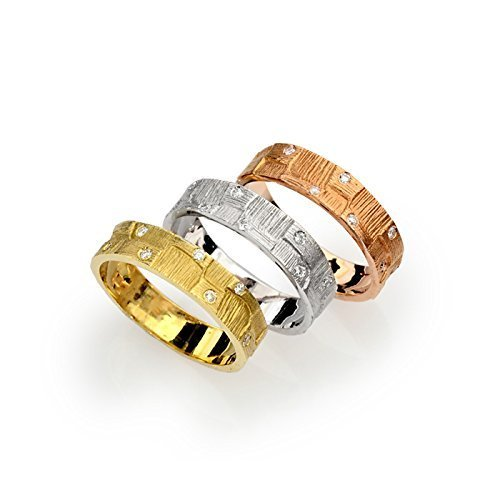 - 14k tri color gold wedding band organic earth design with diamonds