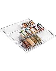 mDesign - Kruidenrek - lade-organizer - voor keuken, badkamer en kantoor - voor kruiden en specerijen - uitschuifbaar/3 etages - doorzichtig