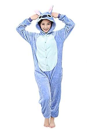 Yimidear® Unisex Cálido Pijamas para Adultos Cosplay Animales de Vestuario Ropa de dormir Halloween y Navidad(S, azul Stitch)