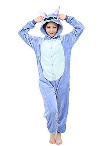 Yimidear Unisex Stitch Onesie Adult Costume Pajamas Halloween Sleepwear for Men Women Blue -