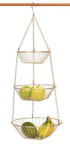Copper 3 Tier Hanging Basket Metal Basket Fruit Vegetable Kitchen Versatile NEW (Copper Baskets Hanging)
