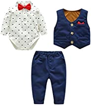 Kanodan Baby Boy Waistcoat Gentleman Suit Long Sleeve 3 Pieces Wedding Outfits (Royal Blue, 0-3Months)