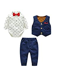 Kanodan Baby Boy Waistcoat Gentleman Suit Long Sleeve 3 Pieces Wedding Outfits