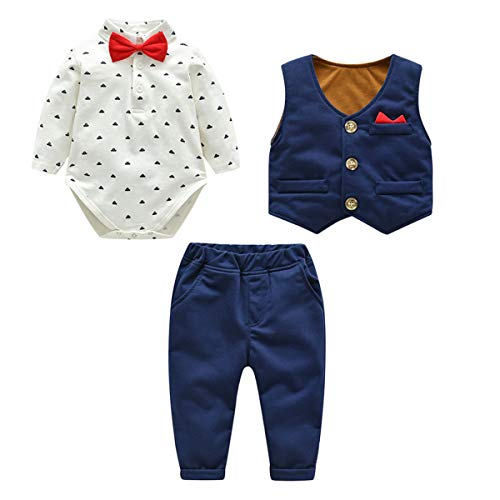 Kanodan Baby Boy Waistcoat Gentleman Suit Long Sleeve 3 Pieces Wedding Outfits (Royal Blue, 12-18Months)