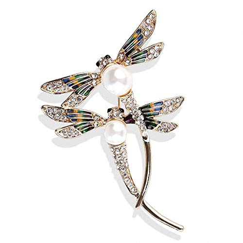 Jana Winkle Dragonfly Brooches Large Couple Flying Insect Dragonfly Brooch Pins Women Suit Jewelry Broach ()