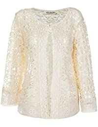 Women's Summer Fashion See Through Lace Open Front Shawl Cardigan White