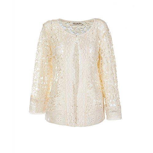 ZG&DD Women's Summer Fashion Lace Open Front Shawl Cardigan White Cover-up (2XL, (Lace Jacket)