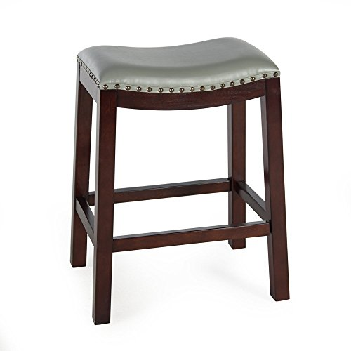 Bistro Counter Bar Stools (Gray) Backless Wood Chairs Pub Swivel Stool Kitchen and Dinningroom Seat Furniture (Gray Leather Counter Stools)