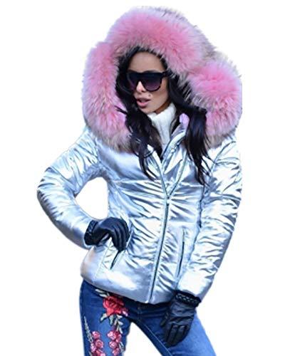 Giacca donna pelle color Aox con argento cappuccio zip sintetica da invernale in ZtwxxX6qd