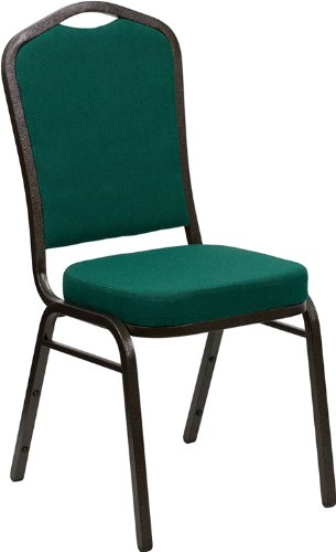 Flash Furniture HERCULES Series Crown Back Stacking Banquet Chair in Green Fabric - Gold Vein Frame (Four Seat Series Sofa)