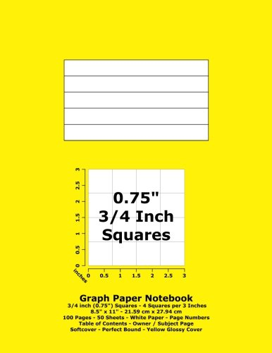 Graph Paper Notebook: 0.75 Inch (3/4