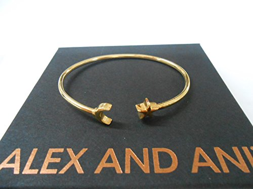 Alex and Ani Women's Moon and Star Cuff Bracelet 14kt Gold Plated One Size made in New England