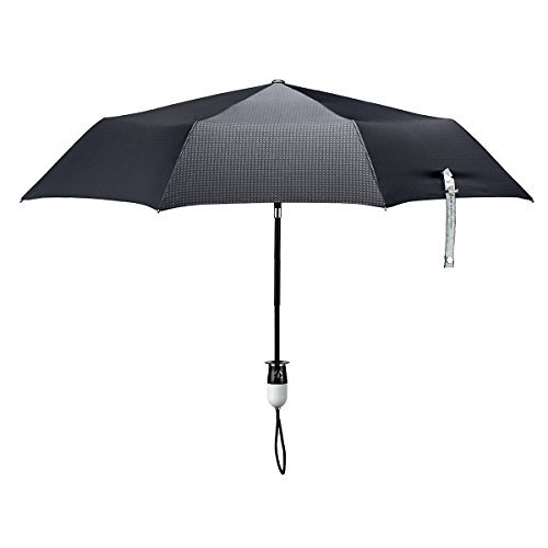 ShedRain Stratus Collection Dualmatic Auto Open/Auto Close Compact Umbrella - Glossy Piano Black and White Grip