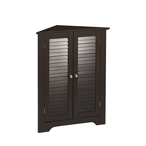 RiverRidge Ellsworth Collection 3-Shelf Corner Cabinet, (Brown Liquor Cabinets)