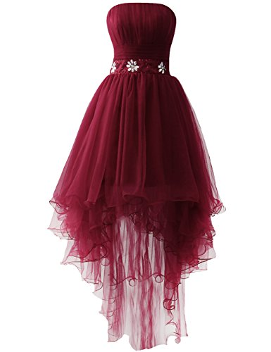 Homecoming Burgundy Strapless Cocktail Prom JAEDEN Dresses Low High Dress Ofx7X