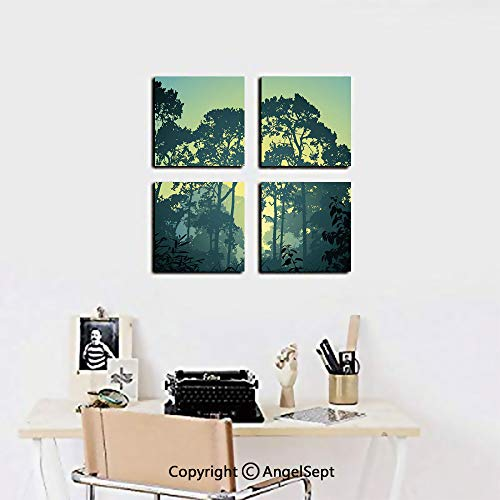 AngelSept Framed Wall Art Decor,Mist Forest Scenery with Tree Tops at Sunset Hazy Woodland Rural Landscape,20