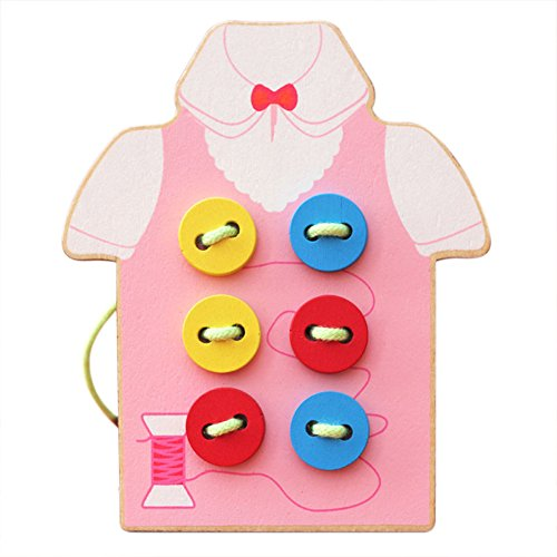 BabyPrice Kids Fine Motor Skills Toy --- Wooden Sewing on Buttons, Lacing Beads Board Toys, Sewing Play Kit Educational Toy for Toddlers and Preschoolers