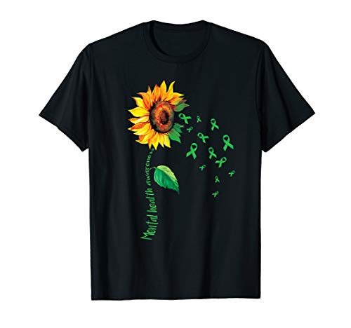 Mental Health Awareness Sunflower T-shirt Lime Green