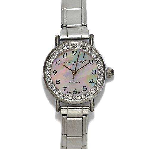 (Dolceoro Pearl Rose, Cubic Zirconium Italian Charm Bracelet Watch 9mm Link Type - CHOOSE YOUR WRIST SIZE)