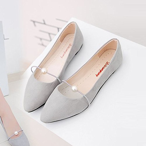 Mocassins Flats Plates Pointues on Kitipeng Sexy Casual Daim Taille Ballerines Loafers Automne Printemps Shoes Gris Femme En Mode Grande Ballet Chaussures Slip RxqZwYZ0a