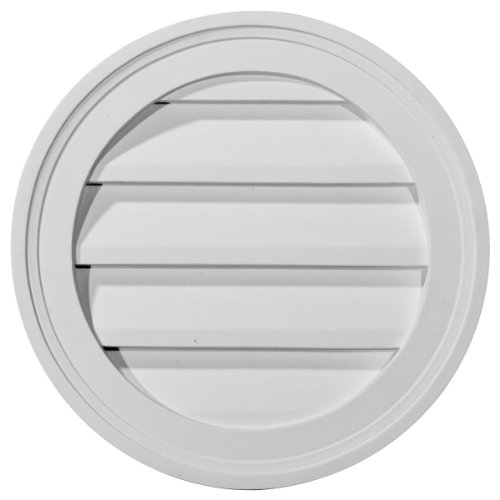 (Ekena Millwork GVRO12F 12-Inch W x 12-Inch H x 1 1/4-Inch P Round Gable Vent Louver, Functional)