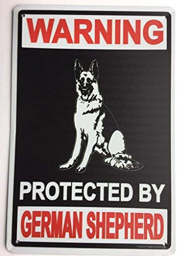 Beware of Dog Sign Warning Protected by German Shepherd 12 Inch by 8 Inch Metal Decor Indoor, Outdoor Sign. TS124
