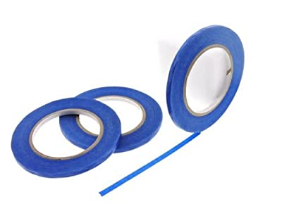 "3pk 1/4"" x 60 yd Blue Painters Tape PROFESSIONAL Grade Fine Masking Edge Pin Stripping Trim Multi Surface Easy Removal (6MM .25 in)"