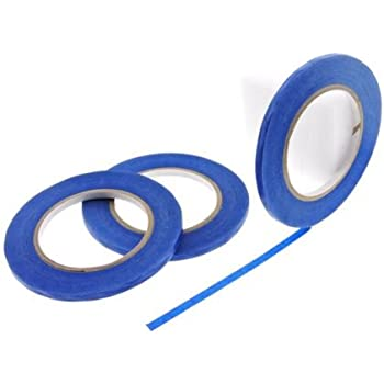 """3pk 1/4"""" x 60 yd Blue Painters Tape PROFESSIONAL Grade Fine Masking Edge Pin Stripping Trim Multi Surface Easy Removal (6MM .25 in)"""