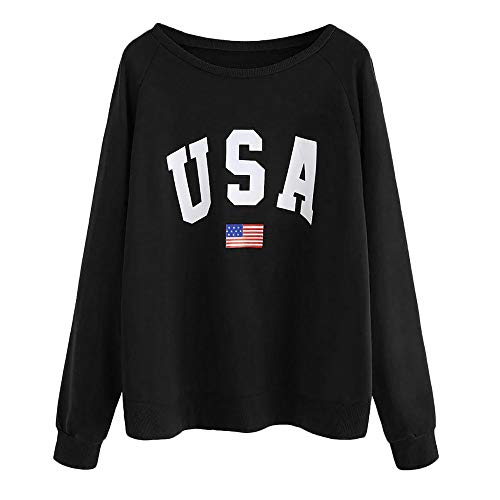 Women's Casual Loose USA Letter Print Long Sleeve Pullover Sweatshirt Tops Blouse for Teens and Girls Black