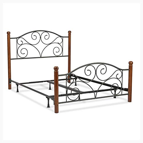 HEATAPPLY King Size Complete Metal Bed Frame with Wood Post Headboard and Footboard in Matte Black Finish