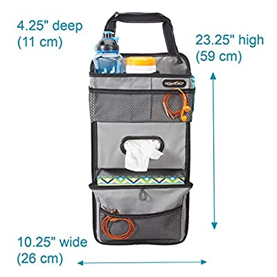 High Road TissuePockets Backseat Organizer with Tissue Compartment and Cup Holder Bin (Gray): Home Improvement