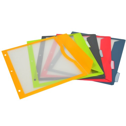 Flat Poly Binder - C-Line 5-Tab Binder Pockets with Write-On Index Tabs, Assorted Colors, 8.5 x 11 Inches, 5 Pockets per Set (06650)