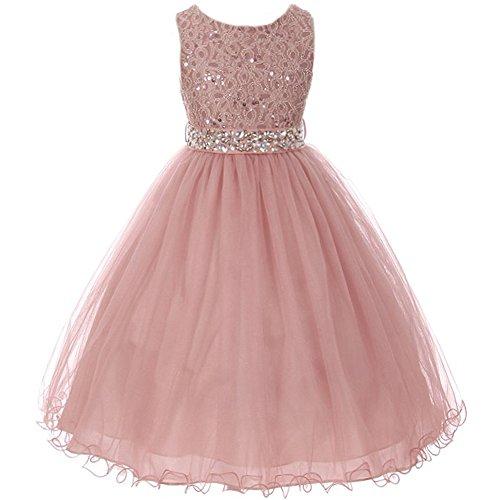Big Girls Sleeveless Dress Glitters Sequined Bodice Double Layer Tulle Skirt Rhinestones Sash Flower Girl Dress Mauve - Size 8