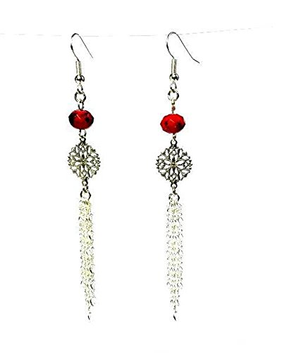 Silver Artisan Filigree Earrings - Extra Long Red with Black Markings Fire Polished Rondelle Earrings with Filigree Silver Links and Multi Strand Dangling Chain Choose: Hypoallergenic or Nickel Free Ear Wires