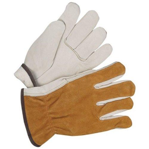 Small Bob Dale 20-9-145-S Premium Grain Leather Fleece Lined Driver Glove with Split Back Tan