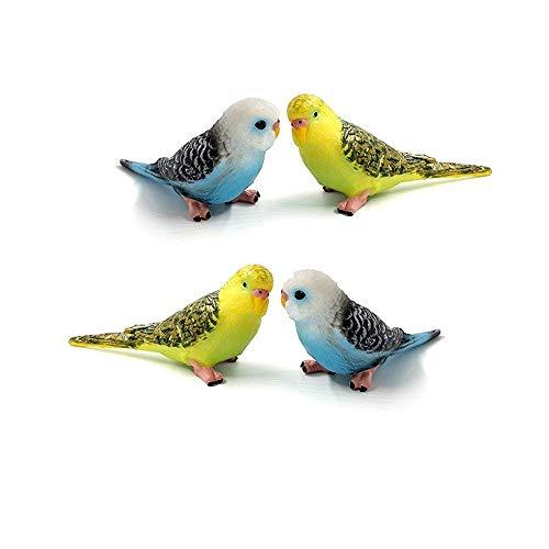 TangTanger 4 pcs Bird Decorative Figurines, Simulation Mini Cute Parrot Bird Figures Animal Model Toys for Home Decor Miniature Fairy Garden Decoration Ornament Kids Gifts (Love Birds Animals)