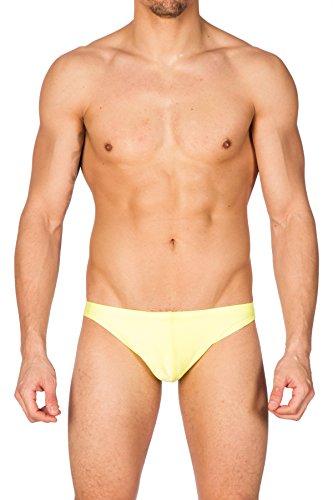 (Gary Majdell Sport Men's Yellow Greek Bikini Swimsuit with Contour Pouch Medium)