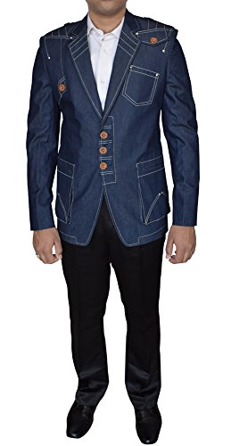 Denim Embroidered Blazer (INMONARCH Mens Embroidered Classic Fit Jeans Cotton 38R Blazer Ready To Ship TXINM04Z 38R Blue)