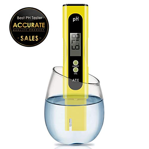 Digital PH Meter, PH Meter 0.01 PH High Accuracy Water Quality Tester with 0-14 PH Measurement Range for Household Drinking, Pool and Aquarium Water PH Tester Design with ATC (Yellow) ()