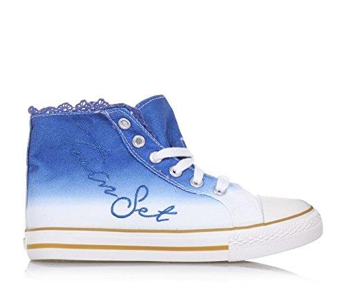 Twin Set Blauer und Weißer Sneaker mit Schnürsenkeln Aus Stoff, phantasievoll und Modisch, Mädchen, Damen-29
