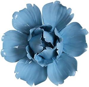 "Insiswiner Ceramic Decorative Flowers 3D Wall Hanging Decor Blue Peony 2.8"""