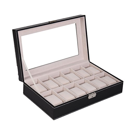 PU Leather Wood Watch Box Display Transparent Glass Storage - Brands Promo Glasses Code All