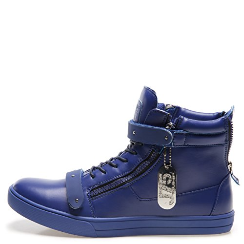 Springen J75 Mannen Zion Ronde Neus Bergkristal Riem Lace-up High-top Sneaker Blue