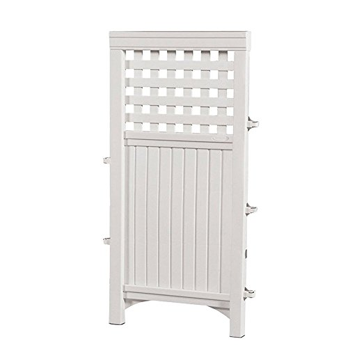 Plastic Fence Panels - Suncast Outdoor Garden Yard 4 Panel Screen Enclosure Gated Fence, White (2 Pack)