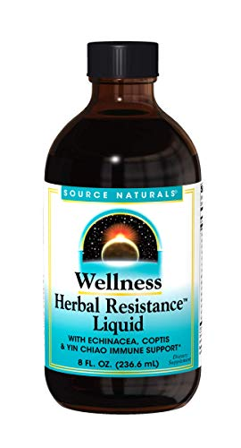 Source Naturals Wellness Herbal Resistance Liquid Immune Defense Supplement & Immunity Booster with Echinacea, Elderberry & Yin Chiao - 8 OZ
