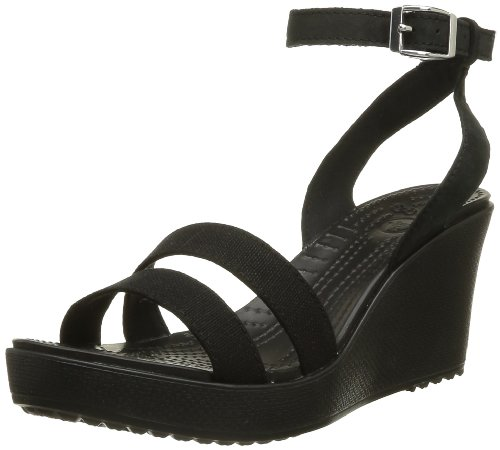 Crocs Women's Leigh Wedge Sandal,Black,8 M US - Genuine Leather Croc