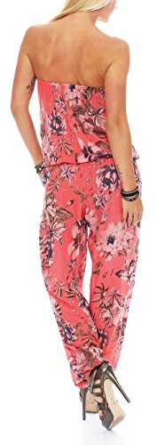 malito Jumpsuit con Florales Print Body Catsuit Playsuit Casual 8005 Mujer Talla Única coral